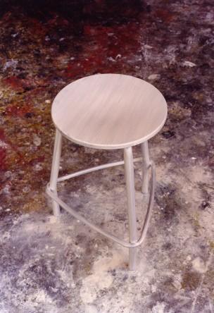 stool  2002 oil on aluminium  52 x 39 x 39 cm