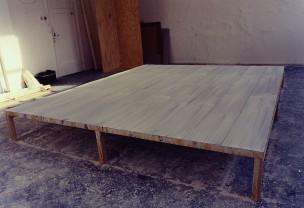 platform 1 1999 oil on metal, wood  34 x 260 x 312 cm